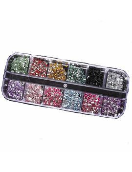 1200pcs 2mm Round Rhinestons 12 Colors Hard Case Nail Art Tips Acrylic Uv Gel by Amazon