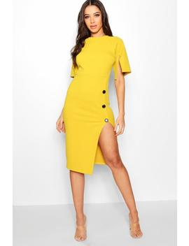 Split Sleeve Button Midi Dress by Boohoo