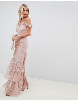 Asos Design Cami Dobby Bardot Ruffle Fishtail Maxi Dress by Asos Design