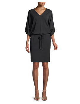 Lewis Drawstring Waist Jersey Crepe Dress by Lafayette 148 New York