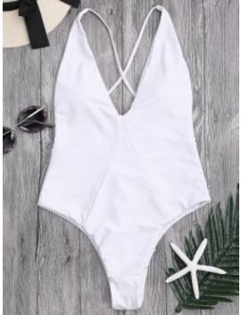 One Piece High Cut Cross Back Swimwear   White S by Zaful