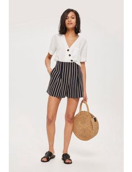 Linen Mix Stripe Shorts by Topshop