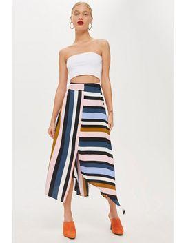 Multi Stripe Asymmetric Midi Skirt by Topshop