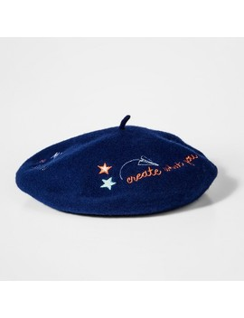 Girls' Doodle Beret   Cat & Jack™ Navy One Size by Cat & Jack™