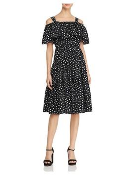 Loka Polka Dot Cold Shoulder Dress by Vero Moda