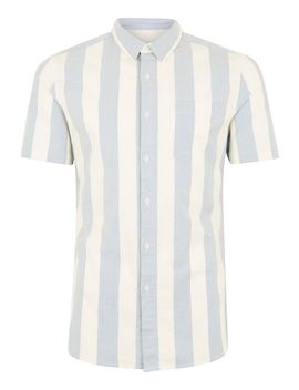 Blue And White Muscle Stripe Short Sleeve Shirt by Topman