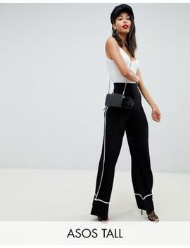 Asos Design Tall Wide Leg Pants With Contrast Binding by Asos Design
