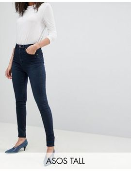 Asos Design Tall 'sculpt Me' High Rise Premium Jeans In Dark Wash Blue by Asos Design