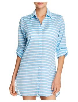 Breton Stripe Boyfriend Shirt Swim Cover Up by Tommy Bahama