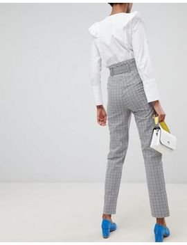 Asos Design Tall Belted Gingham Slim Leg Pants by Asos Design