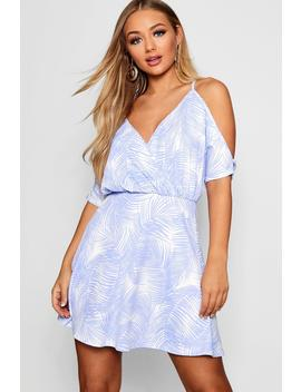 Plunge Cold Shoulder Palm Print Skater Dress by Boohoo