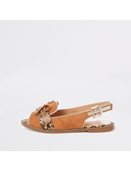 Brown Snake Wide Fit Slingback Loafers by River Island