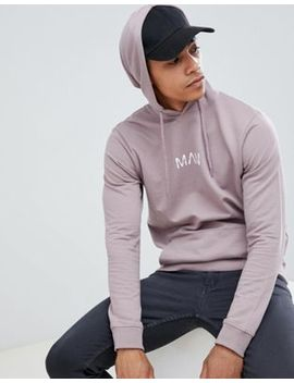 Boohoo Man Hoodie With Man Text In Stone by Boohoo Man