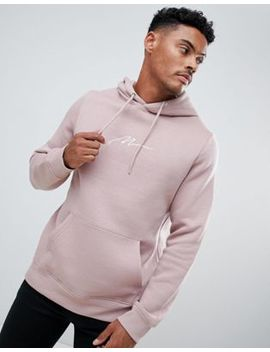 Boohoo Man Hoodie With Man Embroidery In Stone by Boohoo Man