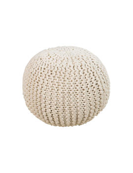 Cassie Knit Pouf, Cream by One Kings Lane