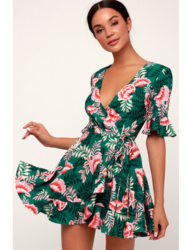 Songbird Green Floral Print Wrap Dress by Lulu's