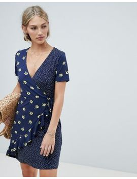 Warehouse Wrap Dress With Ruffle Detail In Mixed Floral And Polka Print by Warehouse