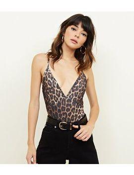 Brown Leopard Print Cross Strap Bodysuit by New Look