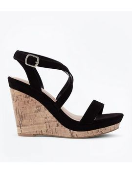 Black Suedette Strappy Cork Wedges by New Look