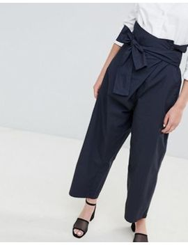 Asos Design   Pantaloni Casual Puliti Allacciati In Vita by Asos
