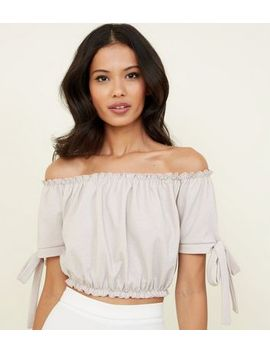 Pale Pink Glitter Bardot Crop Top by New Look