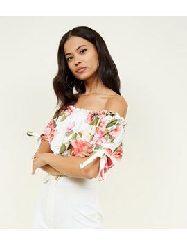 White Floral Bardot Frill Crop Top by New Look
