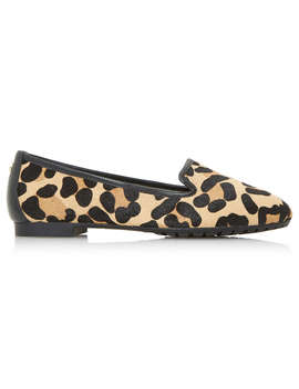 Dune Genevene Wide Fit Round Toe Loafers, Leopard Leather by Dune