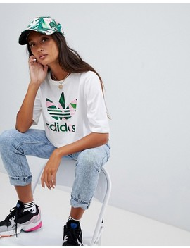 Adidas Originals X Farm Cropped T Shirt With Trefoil Logo In White by Adidas