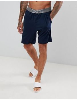 Asos Design Pyjama Shorts In Navy With Branded Waistband by Asos Design