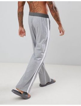 Asos Design Straight Pyjama Bottoms In Gray Marl With White Side Stripe by Asos Design