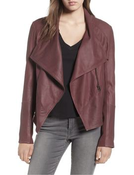 Asymmetrical Zip Front Leather Cascade Jacket by Lamarque