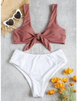 Two Tone Tied High Waisted Bikini Set   Pink Bow M by Zaful