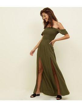 Khaki Bardot Shirred Maxi Beach Dress by New Look