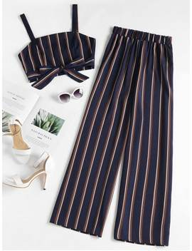 Striped Zip Top And Wide Leg Pants   Deep Blue L by Zaful