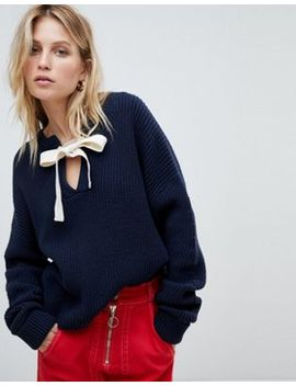 Whistles Tie Neck Eyelet Sweater by Whistles