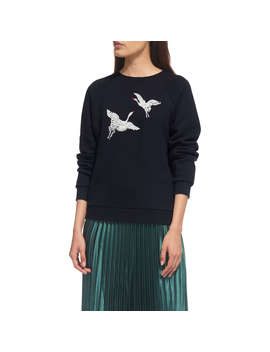 Whistles Crane Embroidered Sweat Top, Navy by Whistles