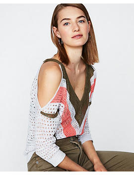 Striped Open Stitch Cold Shoulder Pullover Sweater by Express