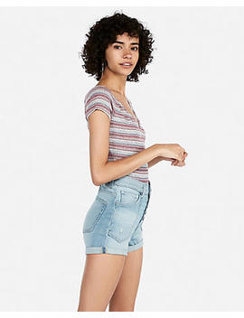High Waisted Button Fly Stretch+ Rolled Hem Denim Shortie by Express