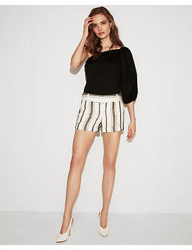 Low Rise Striped Linen Blend Shorts by Express
