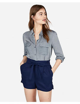 Super High Waisted Pull On Tie Waist Shorts by Express