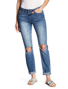 Distressed Roll Cuff Ankle Skinny Jeans by Banjara