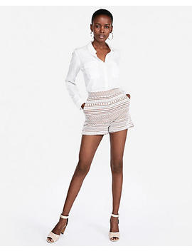 Super High Waisted Jacquard Pull On Shorts by Express