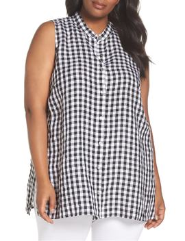Mandarin Collar Gingham Linen Top by Eileen Fisher