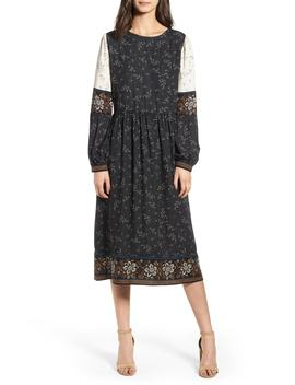 Mix Print Midi Peasant Dress by Hinge
