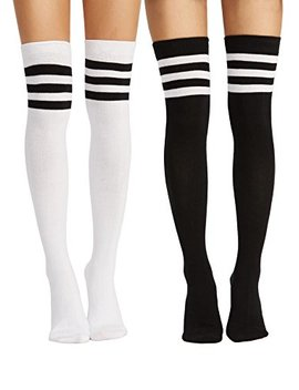 Verdusa Women's 2 Pairs Socks Striped Over The Knee Stockings by Verdusa