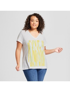 Women's Plus Size V Neck Short Sleeve T Shirt   Ava & Viv™ White by Ava & Viv™