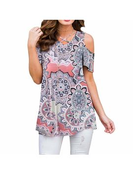 Zrmy Women's Cold Shoulder Floral Print Blouse Short Sleeve T Shirts Criss Cross Tunic Tops by Zrmy