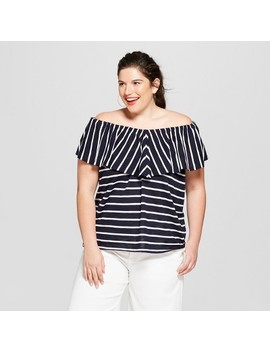 Women's Plus Size Striped Off The Shoulder Flounce Knit Sleeveless Top   Ava & Viv™ Navy/White by Ava & Viv™