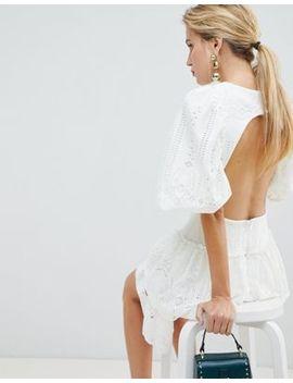 Asos Design Premium Cutwork Double Frill Mini Dress by Asos Design