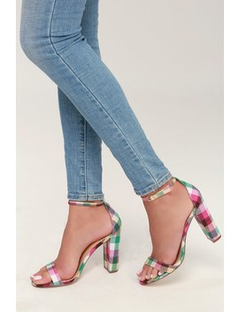 Taylor Pink Plaid Ankle Strap Heels by Lulu's